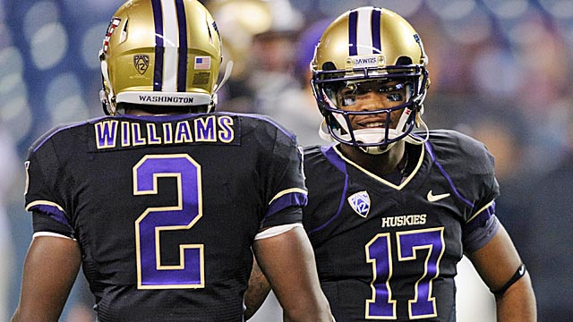 Kasen Williams (2) and Keith Price (17) are just two of Washington's fine skill prospects. (USATSI)