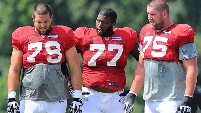 Mike Johnson (79) has the Falcons scrambling at right tackle after being injured. (USATSI)