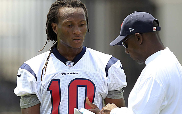 First-round draft pick DeAndre Hopkins listens to wide receivers coach Larry Kirksey. (USATSI)
