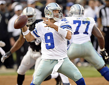 Dallas quarterback Tony Romo completes 6 of 8 passes for 88 yards in limited action Friday against Oakland. (USATSI)