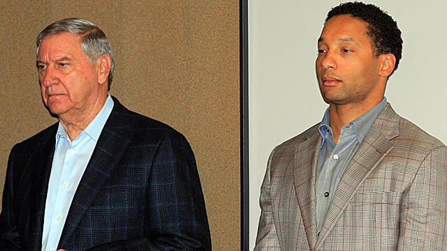Buddy Nix (left) couldn't turn around the Bills; now Doug Whaley (right) gets his chance. (USATSI)