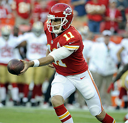 Kansas City quarterback Alex Smith suffers a rough night against the 49ers, his former team. (USATSI)