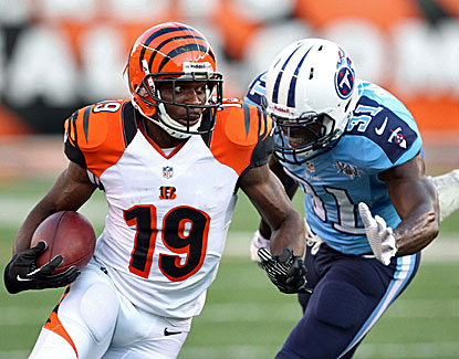 Bengals wideout Brandon Tate makes three catches for 48 yards in Cincinnati's 27-19 win over the Titans. (USATSI)