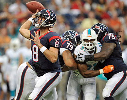 Matt Schaub plays most of the first quarter and rebounds from an early interception in Houston's win over Miami. (USATSI)