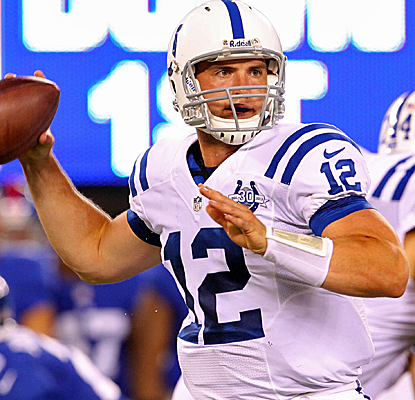 Andrew Luck throws for 107 yards and a pair of touchdowns as the Colts pick up a road win vs. the Giants.  (USATSI)
