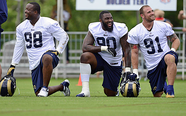 Jake Long, right, at 28 is the old man on a Rams' D-line with Kendall Langford and Michael Brockers. (USATSI)