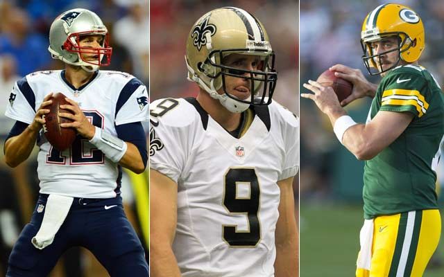 CBSSports.com experts pick Tom Brady, Drew Brees and Aaron Rodgers to win the NFL MVp award. (USATSI)