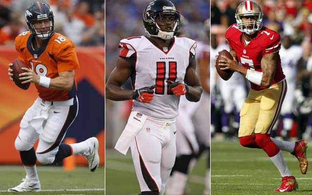 CBSSports.com experts pick Peyton Manning, Julio Jones and Colin Kaepernick to win best offensive player of the year. (USATSI)