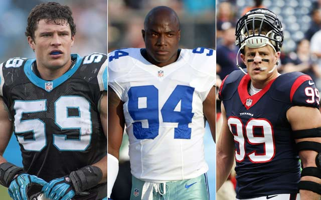 CBSSports.com experts pick Luke Kuechly, DeMarcus Ware and J.J. Watt to win defensive player of the year. (USATSI)