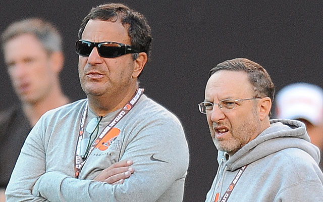 Team president Joe Banner and GM Mike Lombardi taking the Browns in a new direction. (Getty)