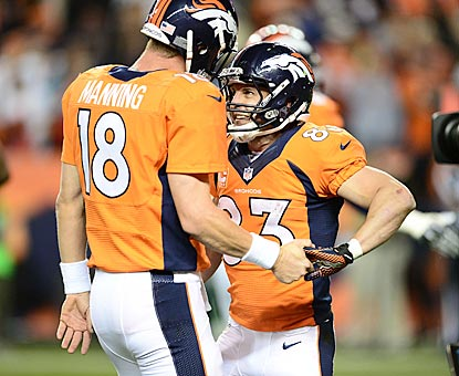 Peyton Manning and Wes Welker embrace after connecting on a touchdown pass in the second quarter.  (USATSI)
