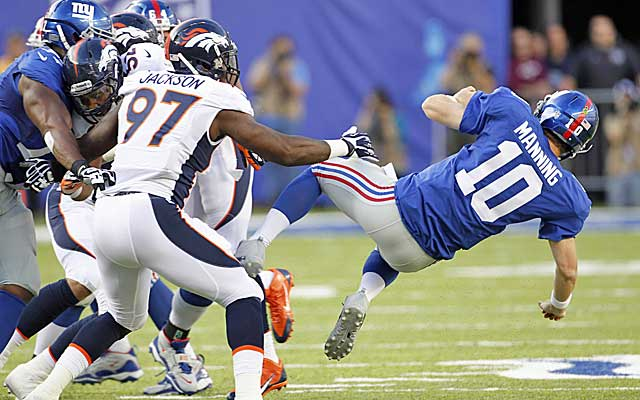 Eli Manning has been sacked 11 times in three games. (USATSI)