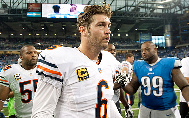 Jay Cutler threw three interceptions as the Bears were blasted in Detroit. (USATSI)