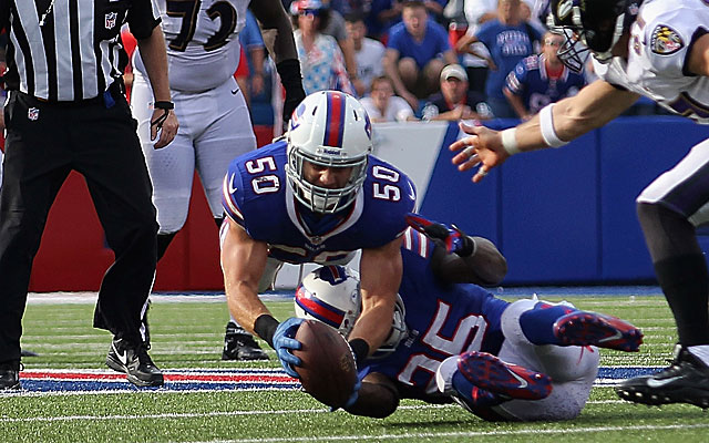 Kiko Alonso makes a diving interception of a Joe Flacco pass. (Getty Images)