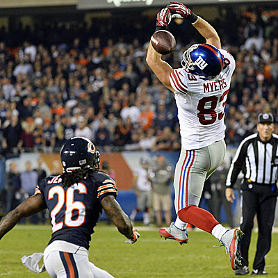 New York's Brandon Myers can't come up with the catch, which leads to Tim Jennings' game-sealing interception. (USATSI)