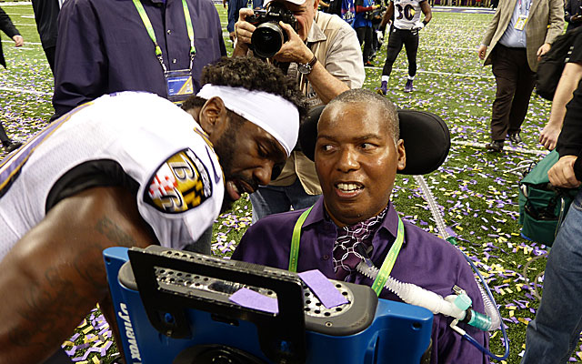 O.J. Brigance with Ed Reed after the Ravens' championship last season. (Provided)