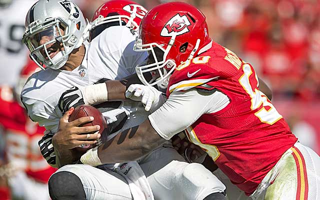 The Chiefs defense sacked Terrelle Pryor 10 times to up its season total to 31. (Getty Images)