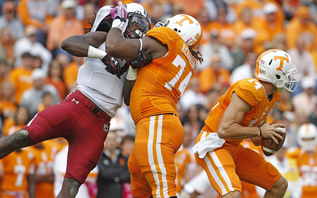 Jadeveon Clowney consistently beat Tennessee's Antonio Richardson, disrupting the Vols' offense. (Getty Images)