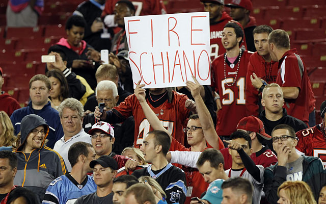 The few Buccaneers fans who remain are eager to get rid of the coach and start over again. (USATSI)