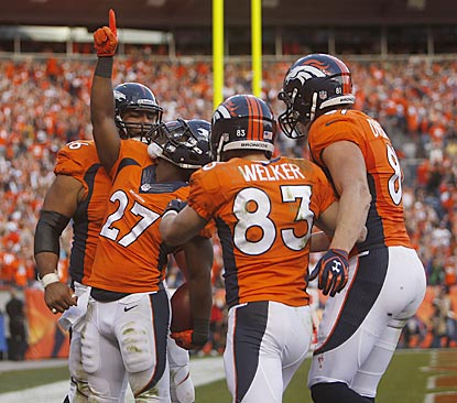 Knowshon Moreno exults after scoring the go-ahead touchdown on a 35-yard catch-and-run in the fourth quarter.  (USATSI)