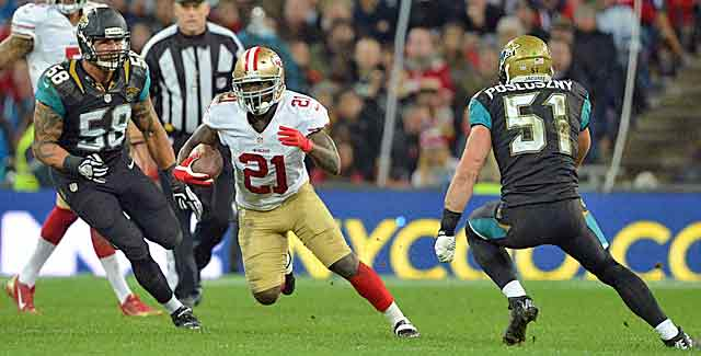Frank Gore gashes the Jaguars' defense on the pitch at Wembley. (USATSI)