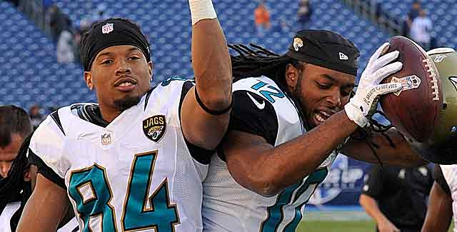 Cecil Shorts and Mike Brown do something rarely seen in Jacksonville: Celebrate. (Getty Images)