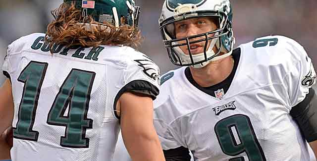 Nick Foles congratulates Riley Cooper for catching one of Sunday's three TD passes. (USATSI)