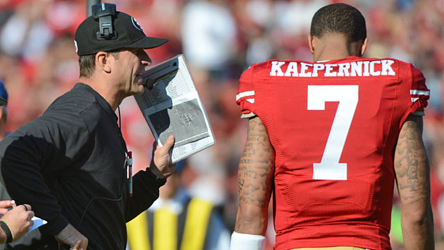 Jim Harbaugh and Colin Kaepernick haven't been able to get the 49ers passing game going. (USATSI)