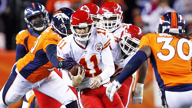 Alex Smith and the Chiefs didn't handle Denver's blitzes well in Week 11. (USATSI)