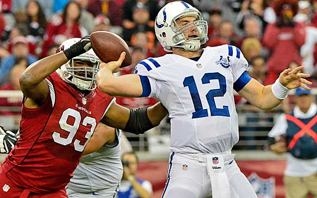 Luck is trying his best to carry his team -- and often trying to do too much.  (USATSI)