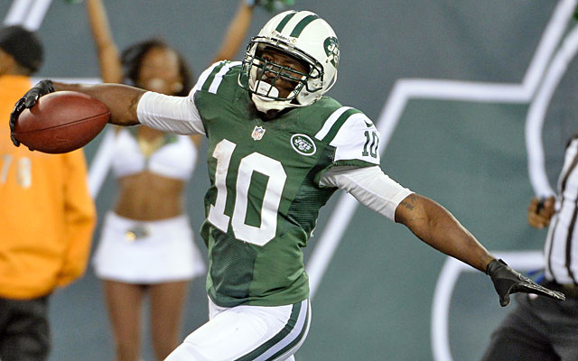 Santonio Holmes (16 catches, 381 yards, one TD this season) lets everyone know how he feels. (USATSI)