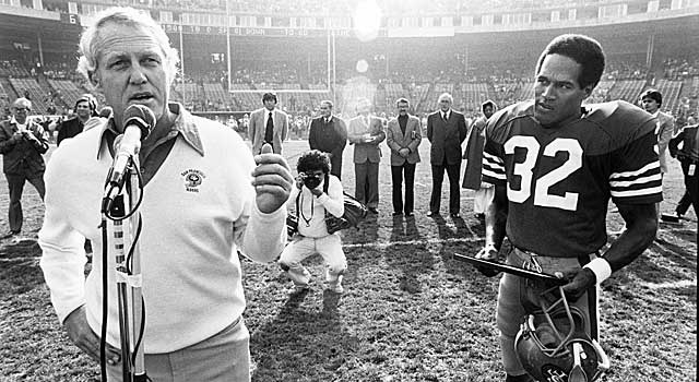 One of Walsh's duties in 1979 was saying so-long to O.J. Simpson. (Getty Images)