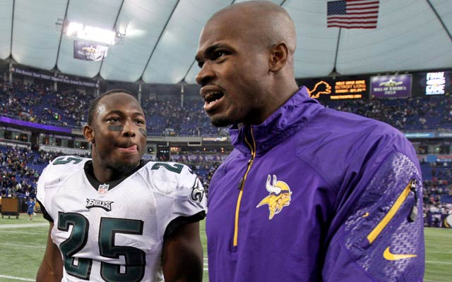 Peterson is No. 2 in rushing to Philly's LeSean McCoy (left). (USATSI)