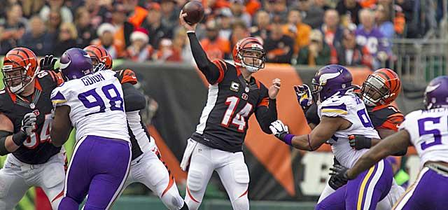 Andy Dalton lays waste to the Vikings. How much money will the Bengals spend on the emerging star? (USATSI)