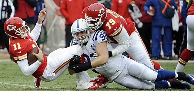 The Colts' somewhat surprising D gets to Alex Smith four times on Sunday. (USATSI)