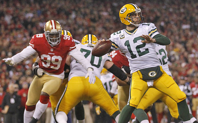 Aaron Rodgers -- 0-3 vs. the 49ers since the start of the 2012 season -- gets another shot Sunday. (USATSI)
