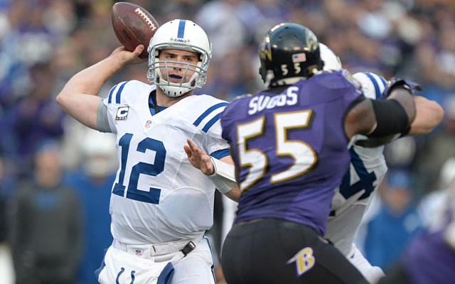 Andrew Luck's first playoff test was a wild-card loss to the eventual champion Ravens. (USATSI)