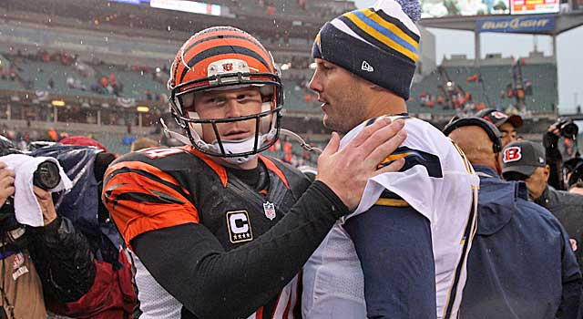 Andy Dalton congratulates Philip Rivers after Dalton commits 3 of 4 Cincy turnovers. (USATSI)