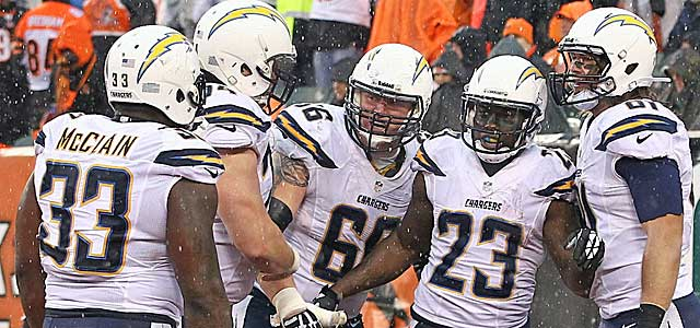 The Chargers celebrate a Ronnie Brown rushing TD vs. Cincinnati. The Broncos are taking note. (USATSI)