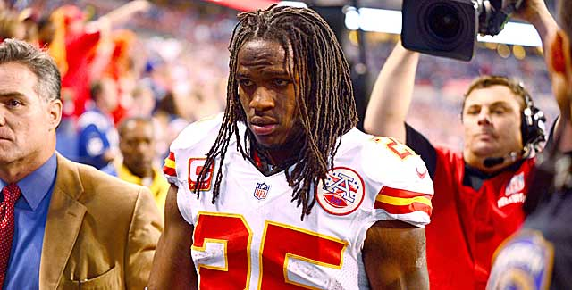 Chiefs running back Jamaal Charles' day was cut short because of a concussion. (USATSI)