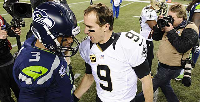All eyes will be on Russell Wilson and Drew Brees in a rematch at Seattle. (USATSI)