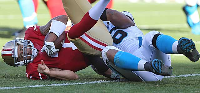 Colin Kaepernick did not have his finest moment during the regular season vs. Carolina's D. (USATSI)