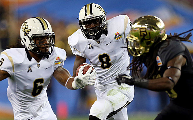 Storm Johnson is leaving UCF but is projected as a sixth-round pick at running back. (USATSI)