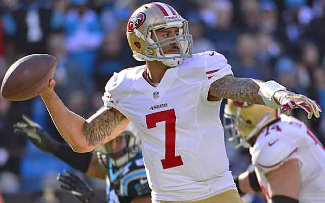The 49ers, known for a pounding ground attack, have opened it up more with Colin Kaepernick.   (USATSI)