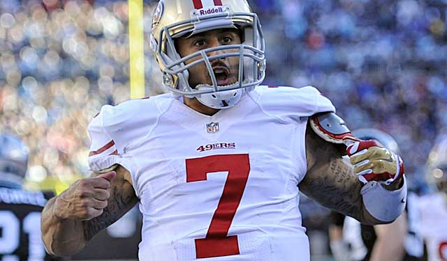 Superman? Colin Kaepernick's likely super rich if he wins the NFC title game. (USATSI)