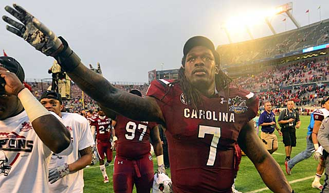 Jadeveon Clowney waves good-bye to South Carolina and hello to professional football. (USATSI)