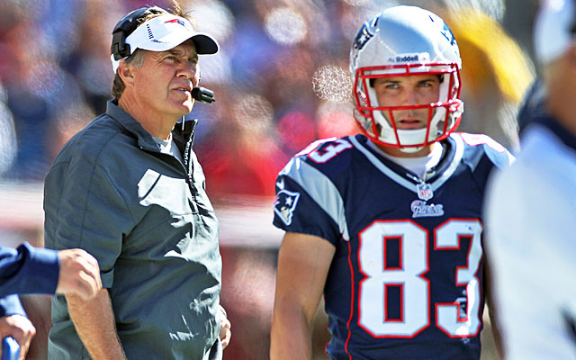 Bill Belichick is trying to say one of his former players tried to hurt one of his current players. (Getty Images)