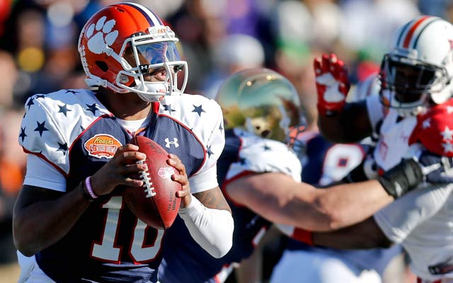 Clemson's Tajh Boyd shows bad accuracy and hurts his stock for the draft. (USATSI)