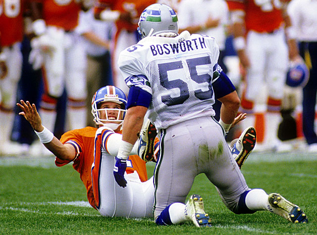 Brian Bosworth riled things up when he made disparaging remarks about John Elway in 1987. (Getty Images)