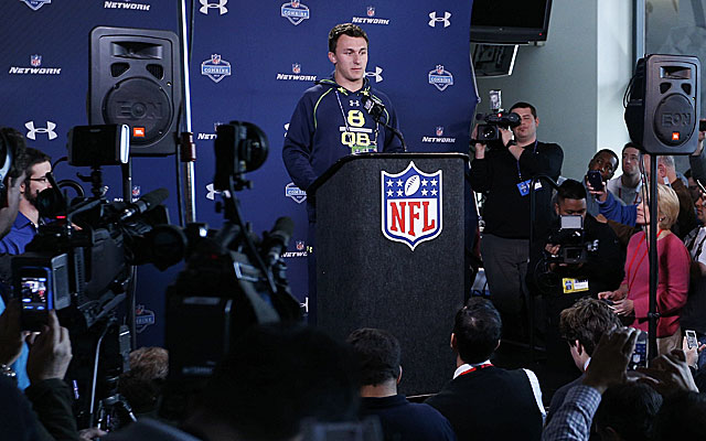 Johnny Manziel had well-rehearsed answers for reporters at the NFL combine. (USATSI)